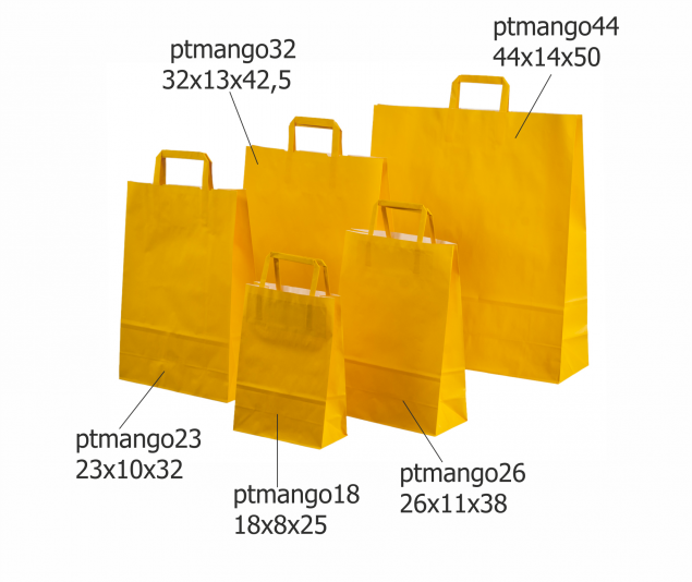 Orange Paper Bags with Flat Paper Handles